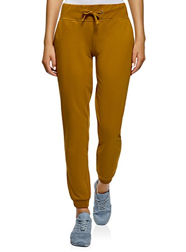 oodji Ultra Mujer Pantalones Deportivos de Punto, Amarillo, ES 42 / L