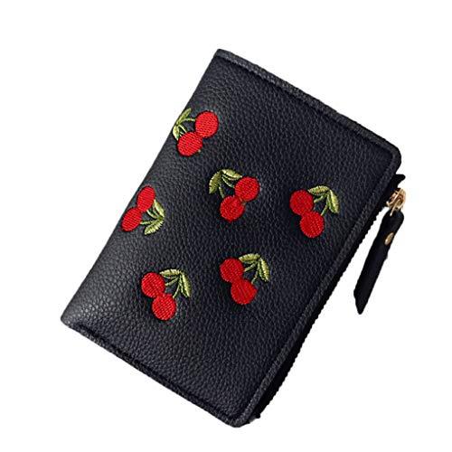 Frauen Mädchen Kurze Brieftasche Kleine PU Leder Kirsche Stickerei Geldbörse Kartenhalter Dame Mini Geldbeutel Black -
