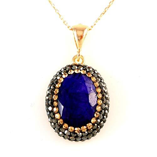 Rosé Vergoldet 925 Sterling Silber Oval Blauer Saphir mit Kristallen Handgefertigte Anhänger Halskette 40+5cm Kette