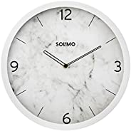 "Amazon Brand - Solimo 12"" Wall Clock - Ethereal Numeric (Silent Movement, White F"
