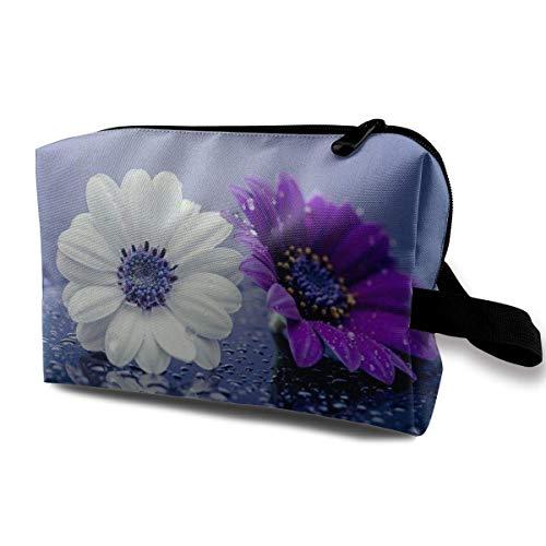 with Wristlet Cosmetic Bags White and Purple Daisy Travel Portable Makeup Bag Zipper Wallet Hangbag (Benutzerdefinierte Gedruckte Taschen)