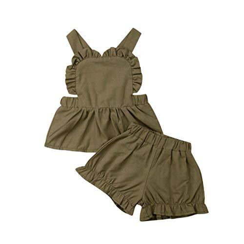 DQANIU  Babykleidung, 2 Stücke Anzug Kleinkind Baby Mädchen ärmellose Rüschen rückenfreie Weste Tops + Solid Shorts Outfits (3M-3T) Varsity Fleece Hose