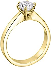 Diamond Engagement Ring in 14K Gold / Yellow - GIA Certified, Round, 0.79 Carat, F Color, SI1 Clarity