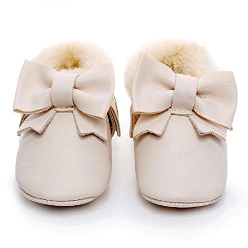 FEITONG Baby Bowknot weiche Sohle Schnee Aufladungen Mehrfarbig Baumwolle Schuhe Kleinkind Stiefel (12 ~ 18 Monat, Silber) Beige