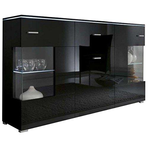 742c46f9bff JUSTyou Luxus Aparador Buffet Mueble de salón Comedor Tamaño  91x150x37 cm Negro  Mat Negro