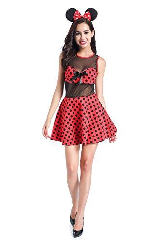 us Kostüme Damen,Fasching Cosplay Kostüme Kleid Verkleidung Tutu Rock mit Ohren Harreif,M ()