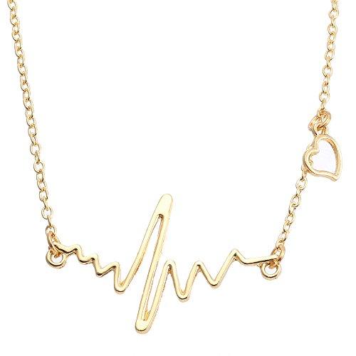 (XZJX Schlüsselbein Halskette Einfache Musikalische Herzfrequenz Schlüsselbein Halskette Anhänger Herzschlag Pullover Halskette Frau)
