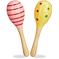 Relaxdays Set of 2 Wooden Maracas, Shakers, Baby Rattles, Small Musical Toys, Pink & Yellow