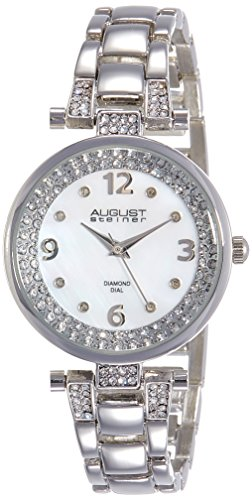 AUGUST STEINER Damen-Armbanduhr Ladies Quartz Genuine Diamond Bracelet WatchAnalogQuarzAS8137SS