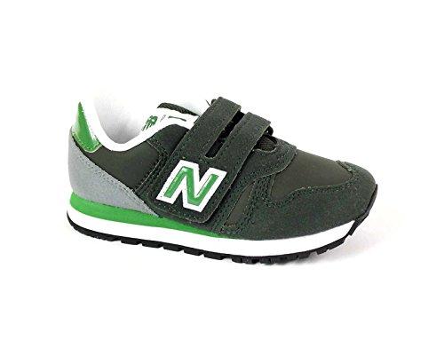 NEW BALANCE - Chaussure de sport verte et grise, en tissu et microfibre, avec velcro, logo latéral et à l'arrière, coutures visibles et semelle en caoutchouc, garçon, garçons