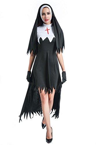 Ulead Adult Halloween Kostüm Frauen Kleidung Priester Europäische religiöse Rolle spielen Frauen Prediger Nun (Schwester Nonne Für Erwachsene Kostüme Geist)