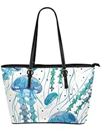 470cb3ab41 Cartone animato Underwater Seafish Meduse Large Soft Leather Portable Top  Maniglia Hand Totes Borse Causali Borse