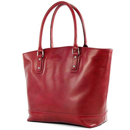 modamoda de - Made in Italy Sac italien en cuir sac à bandoulière sac à main cuir lissé femme sac cabas T27, Präzise Farbe (nur Farbe):Kirschrot