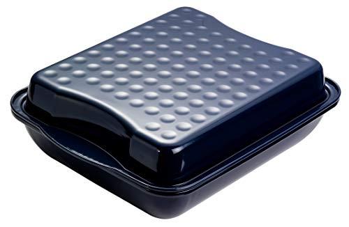Dr. Oetker Maxi-Bräter mit Deckel, Brat- und Auflaufform aus hochwertigem Stahlblech mit Emaillierung, eckige Form aus schnitt- und kratzfestem Stahlblech - spülmaschinengeeignet, Menge: 1 Stück