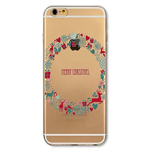iPhone 6 Plus Hülle,iPhone 6S Plus Schutzhülle Defender Bumper,Ekakashop Ultra dünn Slim Bunt Christmas Durchsichtig Transparent Muster Weiche Silikon TPU Gel Crystal Case Defender Back Cover Protecti Weihnachten Kranz