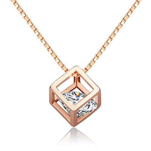 Unendlich U Einzigartig Zauberwürfel Damen Halskette 925 Sterling Silber Zirkonia Würfelförmig Anhänger Verstellbare Kette, Rosegold