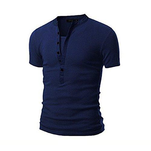 Men's Hyundai Short Sleeve V Neck Tee Shirts Navy