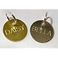 Quality 20mm Round Brass or Nickel Pet Id Tag & Ring, Dog, Cat, free Engraving (Brass)