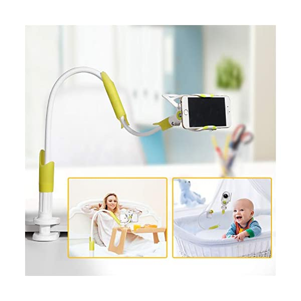 Universa Holder for Baby Monitor with Straps Flexible Baby Camera Mount Shelf No Drilling Safer Monitor Stand Baby(Baby Monitor not Included) MYPIN GET THE BEST VIEW OF YOUR BABY - this flexible baby monitor holder allows you to get the perfect view of your infant. No more balancing of the baby camera on the edge of the cot. This baby camera shelf / holder can be attached to all kinds of furniture or a window sill to give you complete view of your sleeping baby. UNIVERSAL FIT FOR MOST BABY MONITORS ON THE MARKET - this baby camera holder fits most baby video cameras with a base / stand less than 3.8 inches wide and 1.5 inches tall. We've tested the shelf with several leading baby monitor. 360° ROTATING BRACKET HEAD:360 degree rotating, can turn in the direction of the child's activity, easy to position the monitor at the ideal distance and angle for convenient viewing, and no need to re-install the camera and reinstall. 7