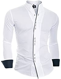Men's Slim Fit Shirt With Piping Asian Collar Square Buttons 100% Cotton New