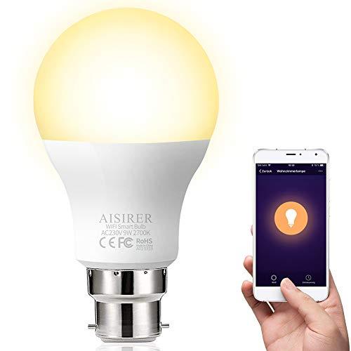 Ampoule intelligente WiFi AISIRER Alexa sans hub requis, ampoule LED à baïonnette B22 compatible avec Alexa Google Home IFTTT, lumière chaude à intensité variable 2700 K, 9 W, 60 W, 806LM