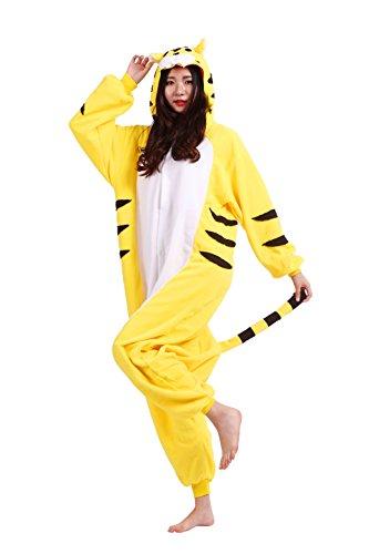 Magicmode Unisex Cosplay Kostüme Kigurumi Tiere Schlafanzug Erwachsene Strampelanzug Anime Hoodie Nachtwäsche Gelb Tiger L (Tiger Strampelanzug Kostüm Für Erwachsene)