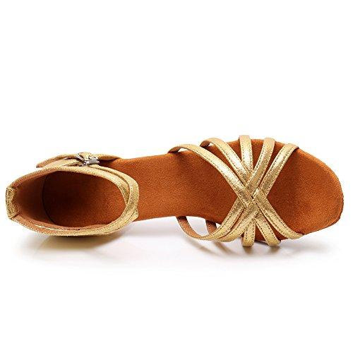 SWDZM Damen Ausgestelltes Tanzschuhe/Standard Latin Dance Schuhe Satin Ballsaal ModellD213-7 Gold EU38.5 - 4