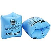 Verano inflable flotador de natación brazo bandas enrollable manga de natación anillos para adultos y niños, azul