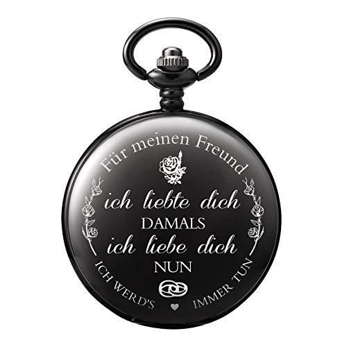 TREEWETO Taschenuhr mit Gravur Kette Herren Schwarz Geschenk zum Geburtstag Jahrestag Freund