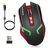 VICTSING Ratón Gaming Inalámbrico, Dual Modo con Cable y Receptor USB, 4 DPI Adjustables 2400 Max, 4 Colores de Iluminación Respirada, 7 Botones para PC, Portátil, Computadora, Ordenador
