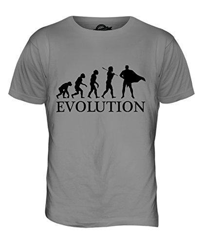 Batman Evolution Kostüm - Candymix Superheld Evolution des Menschen Herren T Shirt, Größe 2X-Large, Farbe Hellgrau