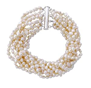 Pretty Cultured Freshwater Cream small Baroque Pearl eight strand chunky Bracelet with silver clasp, presented in a pretty satin silk pouch with a gift card