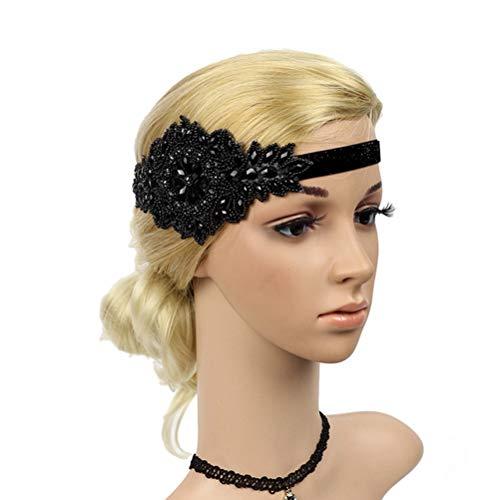 Frcolor Retro Kristall Stirnband Flapper Stirnband Strass Kopfschmuck Braut Haarband für Hochzeit (schwarz)