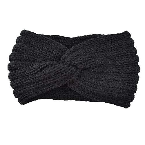 Igemy Frauen Gestrickte Stirnband Häkeln Winter Wärmer Dame Haarband Headwrap (Schwarz)