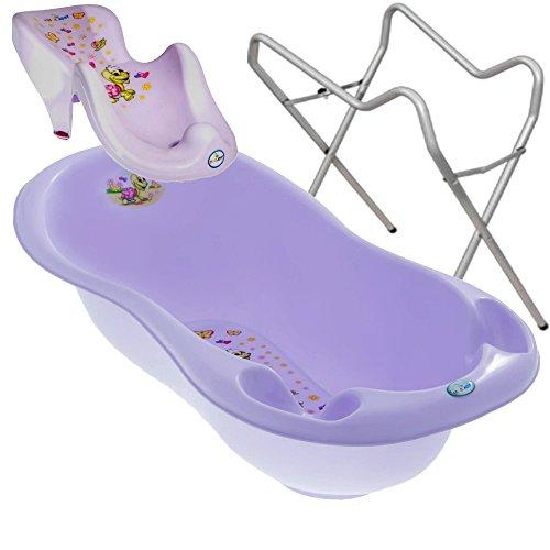 BABY BADESET Babybadewanne + Badesitz + Ständer (Violet)