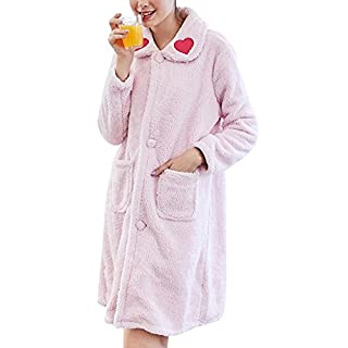 Anyu Ladies Comfy Warm Pyjamas Soft Loungewear Nightshirt Pink L