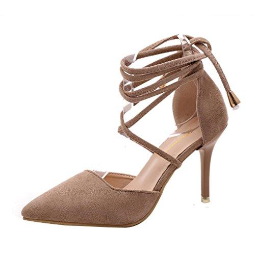Elecenty Sandalen Damen Schuhe,Schuh Sommerschuhe Shoes Sandaletten Frauen Wildleder High Heels Hoch Absatz Niet Badesandalette Pumps Elegante Knöchelriemchen Strandschuhe Elegant (37, Khaki) (Mule Kleid Schwarz Leder)