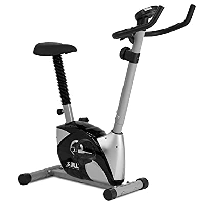 JLL® Home Exercise Bike JF100, 2017 New Magnetic resistance exercise bike fitness Cardio workout with adjustable resistance, 4KG two ways fly wheel, console display with heart rate sensor, Adjustable Handle bars and 7-level seat height adjust, 12-month wa
