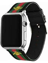 Daze en Nylon Bandes de Rechange pour Apple Montre avec Vert et Rouge à  Rayures et brodée Sport Bandes pour iWatch Série 4 3 2 1 Black… cf0b2ef6545