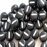 100pièces 6,5mm I Rond Plat Noir, des perles de lettre de l'alphabet–Kb0618