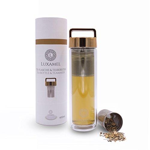 Teeflasche Glas Teekanne Teebereiter Trinkflasche mit Teesieb Teezubereiter Tea Maker to go Tee-Glas doppelwandig mit Sieb Teeflasche 2 Go Design Detox BPA-frei von LUXAMEL (Gold) (Gold Tee Gläser)
