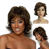 Perruque Pour Femmes Cheveux Naturels Perruque Brune Short Curly BoB tête Perruque Short Hair 25CM