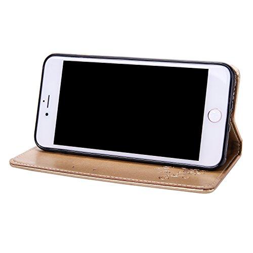 iPhone 7 Plus Coque,Etsue Fine Folio Cuir Coque de Téléphone Mobile pour iPhone 7 Plus,Raffinement Degré Supérieur Mode Leather Case étui [Relief Arbre Brune Motif] pour iPhone 7 Plus,Carte de Visite  Dorée