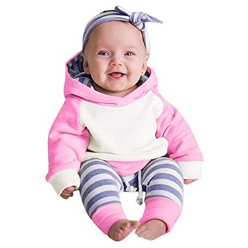 Pwtchenty 3 Stück Mädchen Kleidung Set Kleinkind Baby Junge Mädchen Kleider Set Lange Hülse Kapuzenpullover Tops Streifen Hose Stirnband Outfits (Minnie Maus Strampelanzug Kostüm)