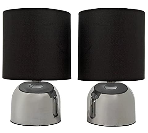 Stunning Jet Black Pair of Touch Stylish Table Lamps