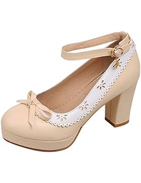 YE Damen Knöchelriemchen Pumps Blockabsatz High Heels Plateau mit Schleife und Schnalle 7cm Absatz Elegant Schuhe