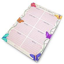 Monster Stationery – Papillon – Agenda hebdomadaire A4 – Choses à faire aujourd'hui – Agenda de bureau – 60 feuilles – 80 g/m² – Fabriqué au Royaume-Uni