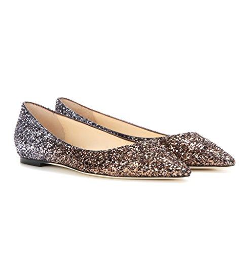 EDEFS - Chaussures Femmes - Ballerines Pailletées - Mariage Escarpin à Plat Talon - Chaussures Bout Pointu Marron
