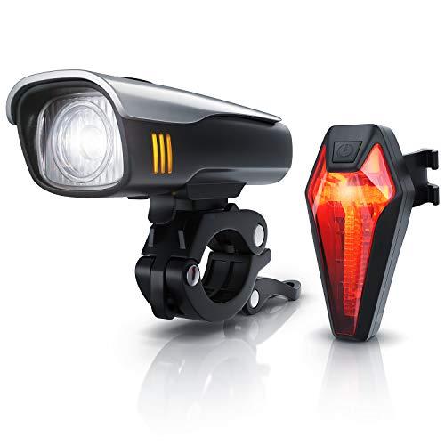 CSL - LED Akku Fahrradbeleuchtung Set StVZO - Fahrradlampen Set - Vorderlicht und Rücklicht
