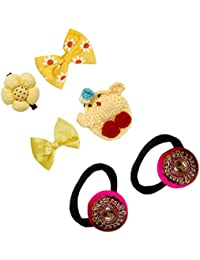 D'chica Special Design Party Hair Accessories For Every Dress Set Of 6 - (Colour:-Multi-Colour, 2 Rubberband,...